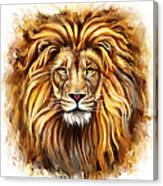 Lion Head In Front Canvas Print