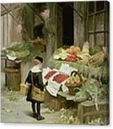 Little Boy At The Market Canvas Print