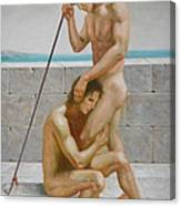 Original Man Body Oil Painting  Gay Art -two Male Nude By The Sea Canvas Print