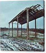 Old Barn In The Snow Canvas Print