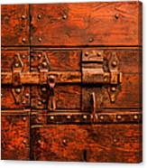 Old Door And Lock Rome Italy Canvas Print