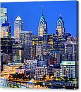 Philadelphia Skyline At Night Evening Panorama Canvas Print