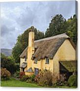 Picturesque Thatched Roof Cottage In Selworthy Canvas Print