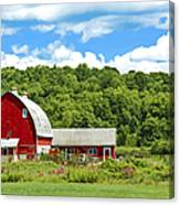 Red Farmstead In Summer Canvas Print
