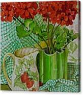 Red Geranium With The Strawberry Jug And Cherries Canvas Print