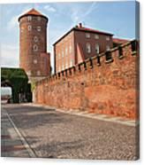 Sandomierska Tower And Wawel Castle Wall In Krakow Canvas Print
