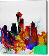 Seattle Watercolor Skyline 2 Canvas Print