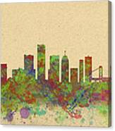 Skyline Of Detroit Usa Canvas Print