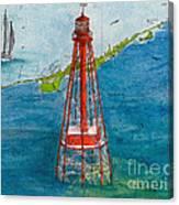 Sombrero Key Lighthouse Fl Chart Art Cathy Peek  Canvas Print