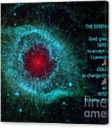 The Serenity Prayer Helix Nebula. Canvas Print