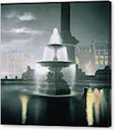 Trafalgar Square At Night  Showing Canvas Print