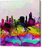 Tulsa Watercolor Skyline Canvas Print
