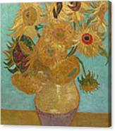 Vase With Twelve Sunflowers Canvas Print