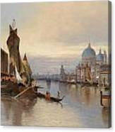 Venetian Scene With A View Of Santa Maria Della Salute Canvas Print