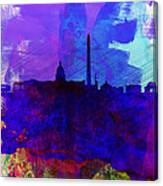 Washington Dc Watercolor Skyline 2 Canvas Print