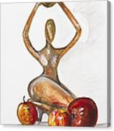 Woman In The African Style  With Red Apples Canvas Print