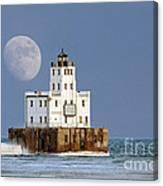 0186 Moon Over Milwaukee Breakwater Lighthouse Canvas Print