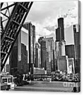 0365 North Branch Chicago River Black And White Canvas Print