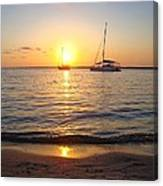 0531 Sailboats At Sunset On Sound Canvas Print