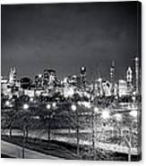 0647 Chicago Black And White Canvas Print