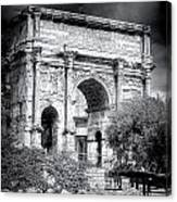 0791 The Arch Of Septimius Severus Black And White Canvas Print