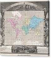 1852 Levasseur Map Of The World Canvas Print