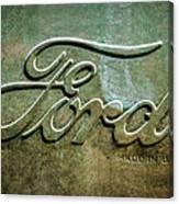 1912 Ford Hood Ornament - Emblem -0496bw Canvas Print