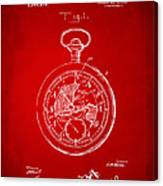 1916 Pocket Watch Patent Red Canvas Print