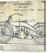 1924 Harley Davidson Motorcycle Patent  Canvas Print