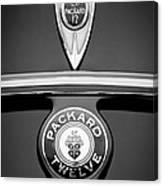 1937 Packard 1508 Twelve Convertible Sedan Emblems Canvas Print