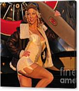 1940s Style Aviator Pin-up Girl Posing Canvas Print