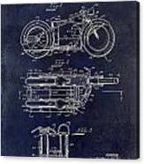 1950 Motorcycle Patent Drawing Blue Canvas Print
