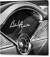 1955 Chevrolet Belair Dashboard Emblem Clock Canvas Print