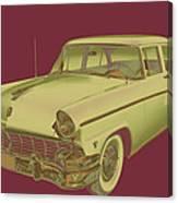 1956 Ford Custom Line Antique Car Pop Art Canvas Print