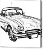1962 Chevrolet Corvette Illustration Canvas Print