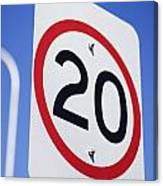 20km Road Sign Canvas Print