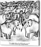 1-800 Herd Of Elephants Canvas Print