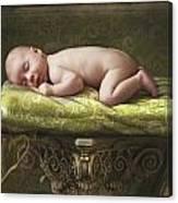 A Baby Asleep On A Pillar Canvas Print