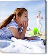A Cute Little Hispanic Girl In A Summer Canvas Print
