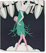 A Flapper In A Green Dress  Dances Canvas Print