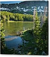 A Fly Fisherman Fishes A High Alpine Canvas Print
