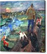 A Man And His Dogs Canvas Print