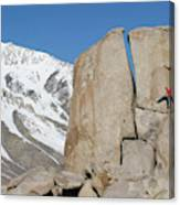 A Man Sport Climbs In Bishop Canvas Print