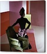A Model Wearing A Schiaparelli Dress Canvas Print