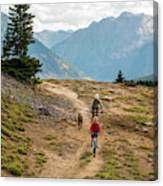 A Mother And Daughter Mountain Biking Canvas Print