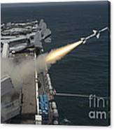 A Rim-7 Sea Sparrow Missile Is Launched Canvas Print