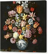 A Still Life Of Flowers In A Wan Li Vase Canvas Print