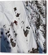 A Telemark Skier In A Narrow Chute Canvas Print