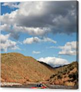 A Whitewater Rafters Rows His Boat Canvas Print