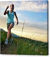 A Woman Trail Running Near Boulder, Co Canvas Print